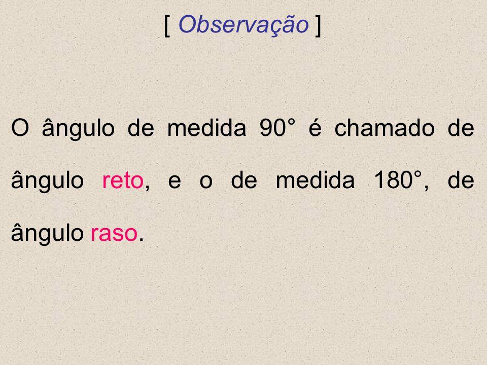 [ Observação ] O ângulo de medida 90° é chamado de ângulo reto, e o de medida 180°, de ângulo raso.